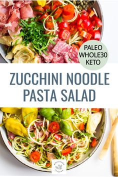The classic Italian Pasta Salad gets a low carb makeover using zucchini noodles! It's loaded with Italian flavors, fresh herbs, and a delicious dressing. The perfect lunch, dinner, or side dish is sure to be devoured by all. 10 minutes is all you need to make this Zucchini Noodle Italian Pasta Salad!