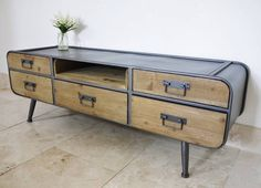 Factory Low Slung Sideboard Metal Wood Coffee Table, Tv Stand And Coffee Table, Industrial Style Coffee Table, Retro Coffee Tables, Coffee Table Grey, Coffee Table With Drawers, Retro Tv Stand, Tv Retro, Retro Style