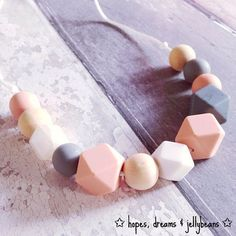 Silicone Teething Necklace / Nursing Necklace 'Darcey' Pink / Grey / New Mum Gift / Baby Gift / Teether / Fiddle Beads /Teething / Breastfed Handmade Shop, Etsy Handmade, Handmade Items, Handmade Gifts, Nursing Necklace, Teething Necklace, Gifts For Mum, Baby Gifts, Parent Gifts