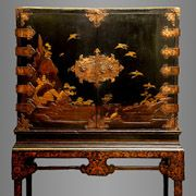 Japanese Lacquer Cabinet on European Wood Stand