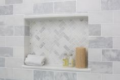 white shower tile tiles shower tiles home depot bathroom tiles pictures rectangle shape with white and grey color white shower tile with grey grout Home Depot Bathroom Tile, Bathroom Niche, Shower Niche, Upstairs Bathrooms, Downstairs Bathroom, Bathroom Renos, Bathroom Ideas, Shower Tiles, Bathroom Shower Designs