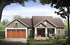 House Plan 59968 | Cottage   Country   Craftsman    Plan with 1627 Sq. Ft., 3 Bedrooms, 2 Bathrooms, 2 Car Garage.. little more living space ;)