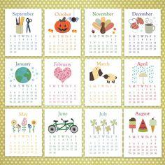 SALE 2014 Calendar, Printable Calendar INSTANT DOWNLOAD Desk Calendar and 8.5x11 calendar included, Academic School Year calendar, printable on Etsy, $6.50