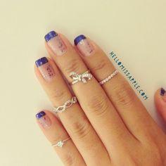 New nail art and our dainty rings www.hellomissapple.com #nailart #hellomissapple #ring