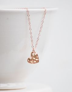Image of Tiny Rose Gold Heart Necklace14K Gold Minimalist Modern Delicate LOVE