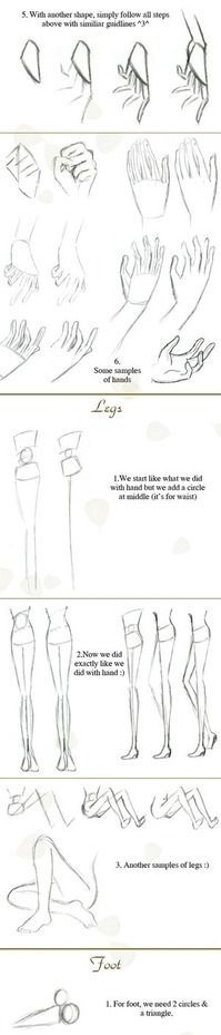 Simple sketching tips. Quick hand-legs-foot tutorial by `Hellobaby on deviantART: