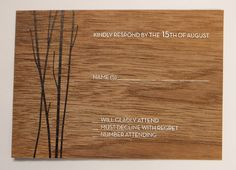 Create a custom reply card for your wedding Invitation Suite, Invitations, Wood Veneer, Wood Design, Card Making, Names, Create, Wedding, Valentines Day Weddings