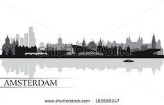 Amsterdam city skyline silhouette background, vector illustration  by Ray_of_Light, via Shutterstock