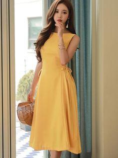 Yellow Lace up Back Zipper Women's Day Dress Simple Dresses, Cute Dresses, Short Sleeve Dresses, Prom Dresses, Summer Dresses, Prom Dress Shopping, Online Dress Shopping, Elegant Outfit, Classy Dress