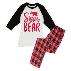 Slumber Party Black & Red Plaid 'Sister Bear' Pajama Set (33 CAD) ❤ liked on Polyvore featuring intimates, sleepwear, pajamas, plus size, plus size pajamas, plus size sleepwear, bear pajamas, red pjs and plaid pajamas