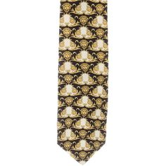 Pre-owned Versace Barocco Print Silk Tie (125 CAD) ❤ liked on Polyvore featuring men's fashion, men's accessories, men's neckwear, ties, gold, mens ties, mens patterned ties, mens leopard print tie, mens silk ties and mens yellow tie