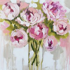 Plush Peony Painting Print on Canvas Acrylic Flowers, Abstract Flowers, Watercolor Flowers, Peony Painting, Painting Prints, Art Prints, Art Floral, Guache, Beautiful Paintings