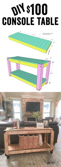 DIY Console Table for under $100... Free plans and how-to video! Super easy and only uses 3 TOOLS! www.shanty-2-chic.com #sofatableplans