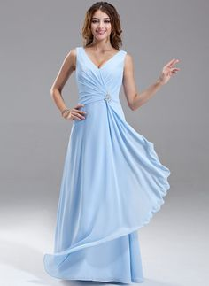 cd6ca15ee066 Chiffon V-neck Floor-length A-Line Bridesmaid Dress With Crystal Brooch And