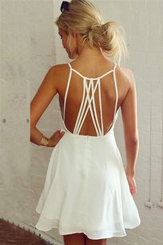 Cheap Sexy O Neck Spaghetti Strap Sleeveless Backless Hollow-out White Chiffon A Line Mini Dress