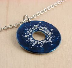 Sparkly Statement Necklace Pendant Sapphire Blue by additionsstyle, $25.00
