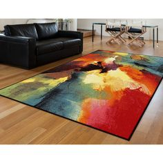 Alise Avdel Contemporary Abstract Multi Area Rug (5'3 x 7'3)