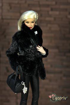 ELENPRIV noir fourrure veste avec doublure en satin plein pour Fashion royalty FR2 et poupées de taille similaire de corps.