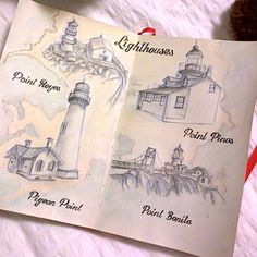 Lighthouses page from travel journal by mila_hofman
