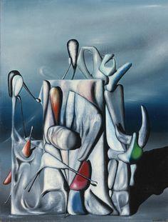 Sothebys July 2008 Modern & Impressionist Art - Surrealism - Click Image to Close Jean Arp, Yves Tanguy, Modern Art, Contemporary Art, Surrealism Painting, Impressionist Art, Magritte, Oblivion, Fantastic Art