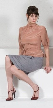 Oh my ! Impression, but with longer skirt. ALady. BlushPink HighCollar Blouse w.Obi in Silk by speakeasyboutique, $98.00