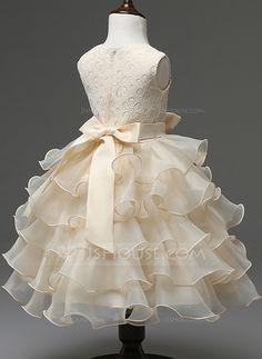 Ball Gown Scoop Neck Knee-length Ruffles Bow(s) Rhinestone Cotton Blends Sleeveless Flower Girl Dress Flower Girl Dress