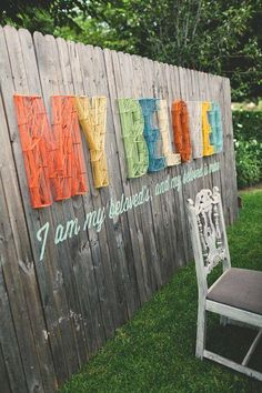 this could aslo be cool street art! Custom Wedding Wall by Chase and Aaron Kettl! Hand made, yarn strung, hand painted typography on reclaimed wood. Custom Wedding Wall by Chase Kettl, via Behance Casa Retro, Nail String Art, Wedding Wall, Sage Wedding, Wedding Pins, Diy Wedding, Wedding Ideas, Fence Art, Fence Garden