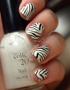 For the print lovers: Zebra print nails!
