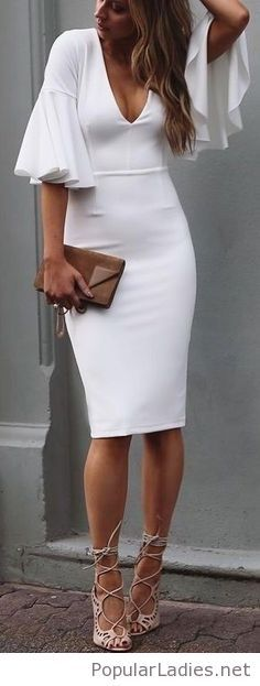 White dress, nude sandals and a brown bag