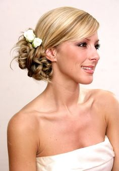 Wedding hair - like this for the side bun part....MOH material