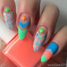 Multicolor negative space nail art