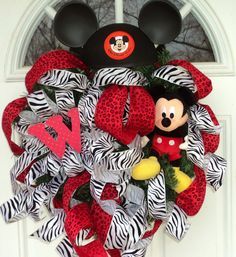 Mickey Mouse Wreath Animal Safari Ribbon Red Cheetah Zebra Letter Intial, CUSTOM ORDER. $119.00, via Etsy.