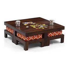 Kivaha 4-Seater Coffee Table Set (Walnut Finish, Morocco Lattice Rust) by Urban Ladder