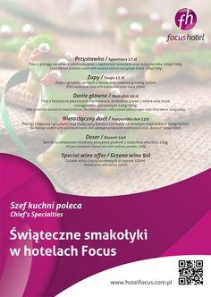 Specjalnie na świąteczny okres przygotowaliśmy menu pełne przepysznych dań. Zapraszamy do restauracji hoteli Focus przez cały grudzień! Smacznego! :)