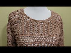 Blusa tejida paso a paso en cuatro piezas facil a la medida con 500 grs del material que guste en talla grande