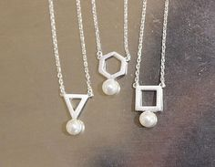 925 Sterling Silver Geometric Pearl necklace,triangle Pearl point necklace, square necklace, geometric necklace