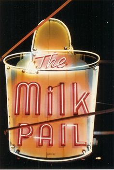 The Milk Pail neon sign in Lincolnwood, just outside of Chicago.  They sponsored my first softball team in 2nd grade!