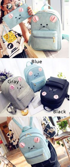 Cute Little Mouse Cartoon Rucksack PU Schoolbag Animal Backpack Gift Clutch only…