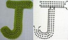 Crochet Letter Patterns - Beautiful Crochet Patterns and Knitting Patterns Crochet Alphabet Letters, Crochet Letters Pattern, Crochet Square Patterns, Letter Patterns, Crochet Leaves, Crochet Doilies, Knit Crochet, Crochet Appliques, Crochet Things