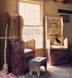 """Wingback chairs are """"make do"""" furniture built by the owner. I like the drawer underneath. The seat could be leather [ padded ]"""