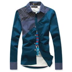 Slim stylish mens dress casual long-sleeve shirt