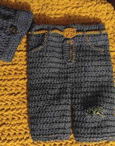 "Crochet ""Ripped Jeans"" Pants Photo Prop Free Pattern - Crochet Baby Pants Free Patterns"