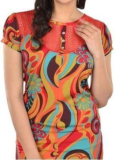 Roposo.com - Latest multicolour round-neck half-sleeve tunics online lavennder women&039s tunic multicoloured