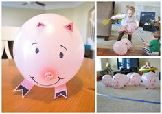 Pig game: use fly swatters to push the pigs (pink balloons) into the square (pig pen)!
