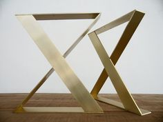 "28"" H X 24"" W  X-frame Wide Flat Brass  Table Legs, Height 26"" To 32"" Set(2).Customizable products."