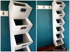Build your own custom cubbies for your mudroom to hold hats, mittens, etc. {Sawdust and Embryos} Craving more storage in your home? Build your own custom mudroom cubbies to hold hats, mittens, etc. Mudroom Cubbies, Closet Mudroom, Closet Wall, Shoe Closet, Front Closet, Hall Closet, Cubby Storage, Closet Storage, Closet Shelves