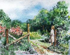 At The Gate Summer Landscape http://irina-sztukowski.artistwebsites.com/featured/at-the-gate-summer-landscape-irina-sztukowski.html #countrystyle #country #vintage #vintagecountry #cuteandcozy #painting #homedecor #art