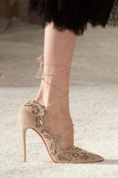 Christian Louboutin for Marchesa Beige Lace-Up Pumps Spring 2014 RTW #CL #Louboutins #Shoes