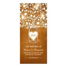 floral mason jar orange elegant wedding programs custom rack card