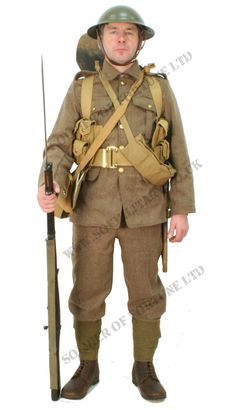 A complete replica uniform for a British Infantryman soldier on the day of the Somme Offensive. This is the correct uniform for the start and early period of the Somme offensive. American Uniform, British Army Uniform, British Uniforms, British Soldier, Camouflage, Ww1 Soldiers, Battle Of The Somme, World War One, American Soldiers